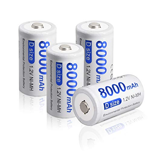 CITYORK Batterie D Ricaricabili 8000mAh - 1.2V Ni-MH Batteria ad Alta Capacità D Size Batterie Ricaricabili a Celle D ad Alta Capacità con Scatola (4 Pezzi)