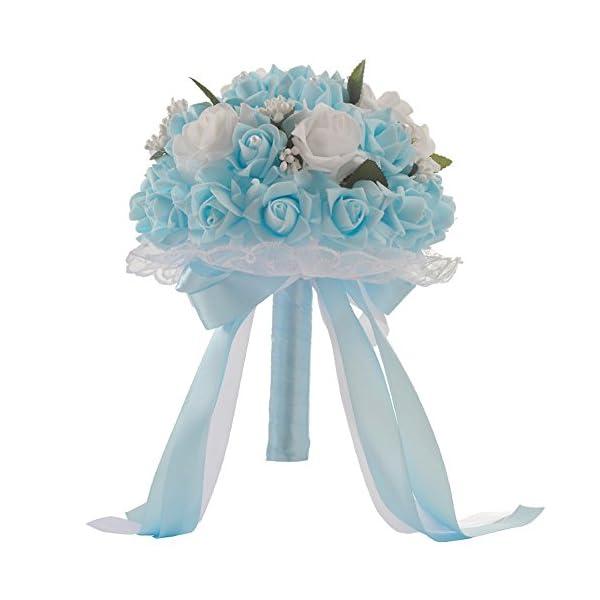 Wedding Bouquet,Yamart Crystal Roses Bridesmaid Wedding Bouquet Bridal Artificial Silk Flowers