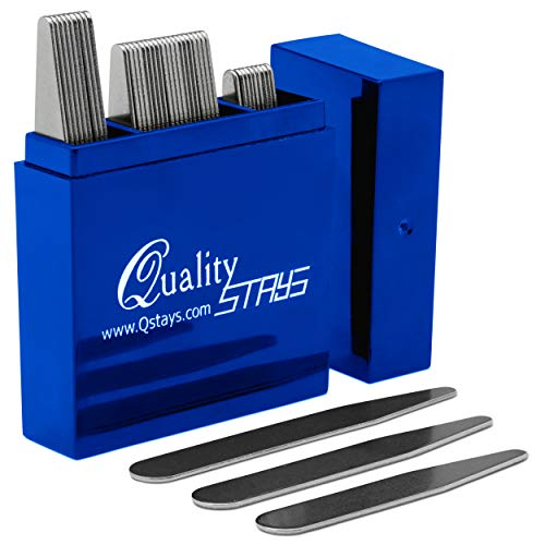 Metal Collar Stays for Men – 40 Dress Shirt Collar Stays for Men, 3 Sizes in a Divided Sapphire Box by Quality Stays