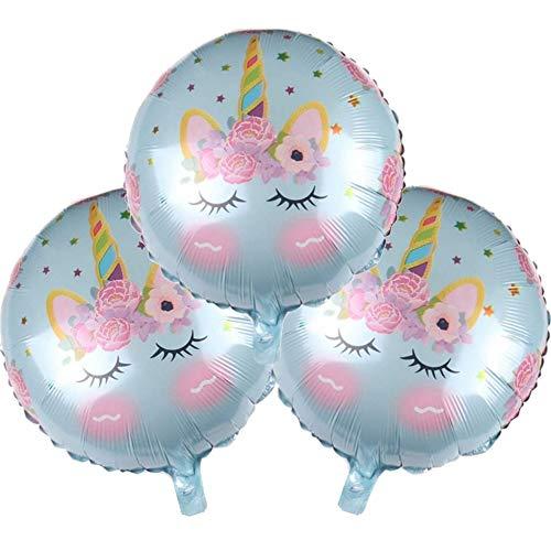 DIWULI, 3 piezas de globos azules de unicornio, globos de papel de aluminio, juego de globos de regalo, globos de papel de aluminio de unicornio para el cumpleaños, la niña del cumpleaños de los niños
