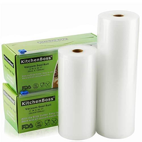 KitchenBoss Vakuumrollen mit Cutter-Box, 2 Rollen 28cm x15m und 20cm x15m Folienrollen BPA-Frei für alle Vakuumierer, stark & reißfest & kochfest & wiederverwendbar für Sous Vide
