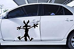 Image: 2X Wile E Coyote Hitting Wall Splat Wiley Vinyl Decal Sticker Different Colors and Size for Cars/Bikes/Windows | Brand: M+D Stickers
