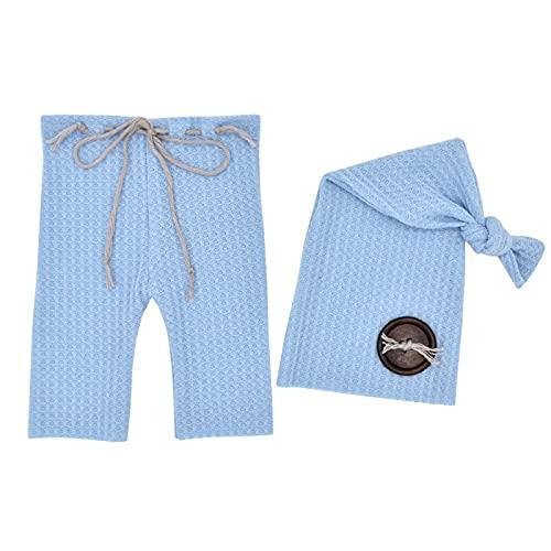 Rehomy - Set di accessori fotografici per bambini, in maglia con bottoni in legno e tappo a coda lunga, per bambini da 0 a 3 mesi, colore: azzurro cielo