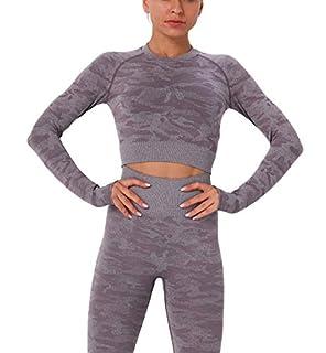 scheda kiwi rata donna sportivi crop top yoga shirt manica lunga maglietta palestra abbigliamento senza cuciture corto camicia allenamento jogging