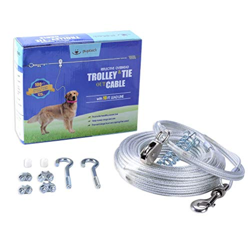 PUPTECK Reflective Dog Run Cable - 100 ft Heavy Weight Tie Out Cable with 10 Ft Runner for Dog up to...