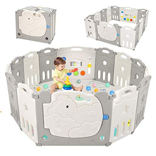 Baby Playpen Kids Activity Centre Safety Play Yard Home Indoor Outdoor Fence Anti-Fall Play Pen with Whiteboard and Activity Wall(14 Panel)