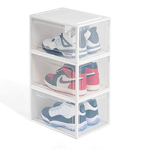Hododou Shoe Box 3pcs Stackable Shoe Stroage box Clear Plastic Shoe Box Shoe Organiser Large Size 35.5 x 24.5 x 20CM (White)