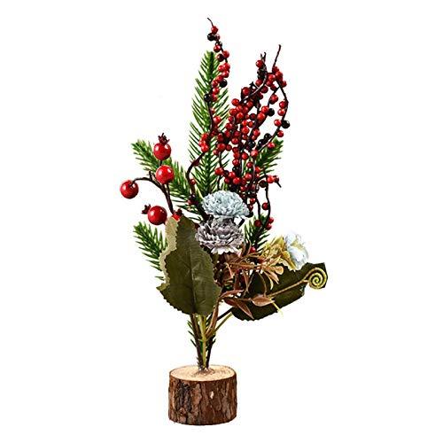 Matedepreso - Mini albero di Natale artificiale con base in legno