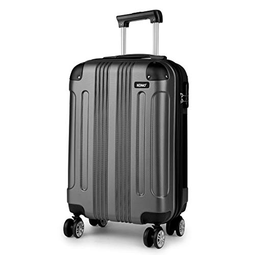 Kono Lightweight Hard Shell ABS Travel Trolley Cabin Hand Luggage Suitcases Boarding Case Spinner 55x35x20cm 33L
