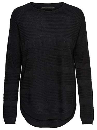 ONLY Onlcaviar L/s Pullover Knt Noos, Suéter para Mujer, Negro (Black Black), 38 (Talla del fabricante: Medium)