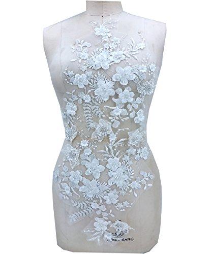 coudre Perle Paillettes trois Dimensions Fleurs Blanc en dentelle Garniture Applique patches 62 x 32 cm pour habiller DIY Accessoires