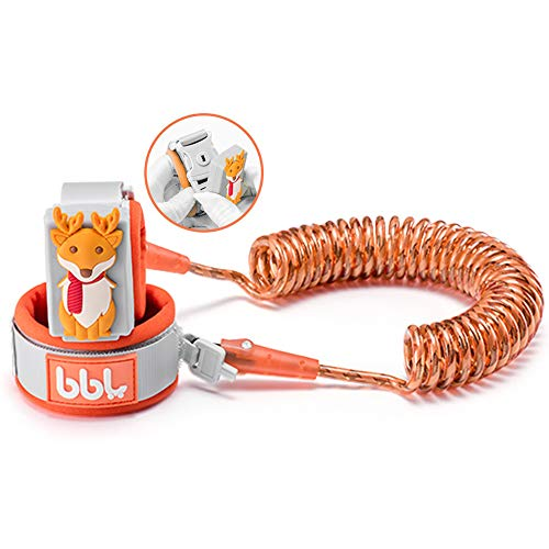 Anti Lost Wrist Link,Toddles Safety Wrist Leash,Anti Lost Rope Walking Harness with Key Lock,Parent-Child (Orange/6.56 ft)