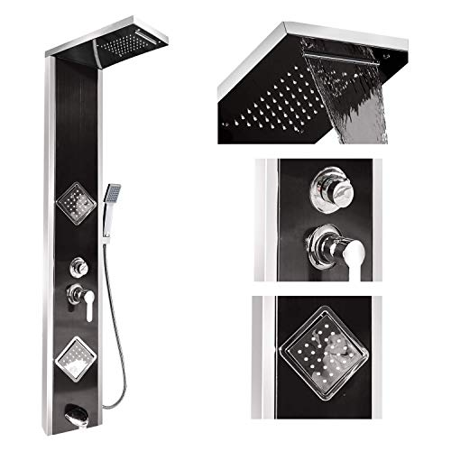gotonovo Shower Panel Tower System Stainless Steel Black Waterfall Rain Massage System with Body Jets Nozzles Rainfall Shower Head and Tub Spout Multiple Functions