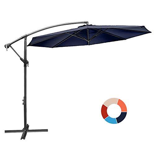 JIESSIWONG Offset Umbrella - 10Ft Cantilever Patio Hanging Umbrella,Outdoor Market Umbrellas with Crank Lift & Cross Base(10 FT,Navy)