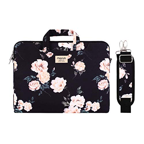 MOSISO Laptop Shoulder Bag Compatible with 2019 MacBook Pro 16 inch A2141, 15 15.4 15.6 inch Dell Lenovo HP Asus Acer Samsung Sony Chromebook, Camellia Carrying Briefcase Sleeve with Trolley Belt