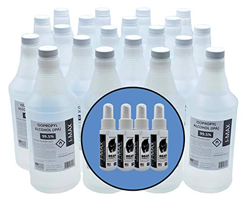 High Purity USP Grade Isopropyl Alcohol 99.5+% - 20 Liters - More Than 5 Gallons - Includes FOUR 2 OZ USP Grade IPA 70% Spray Bottles - Made in USA