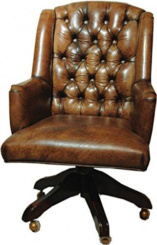 Casa Padrino Echtleder Chefsessel Büro Stuhl Braun Drehstuhl Schreibtisch Stuhl - Chefbüro