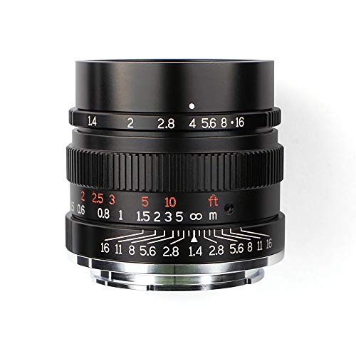 7artisans 35mm F1.4 Vollformat-Objektiv für Sony E-Mount-Kameras wie A7 A7II A7R A7RII A7S A7SII A6500 A6300 A6000 A5100 A5000 EX-3 NEX-3N NEX-3R NEX-C3 NEX-F3K NEX-5 NEX-5N-Schwarz