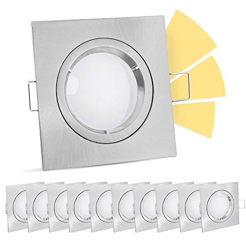 linovum fourSTEP LED Decken Einbaustrahler 10er Set mit GU10 warmweiß 5W 230V