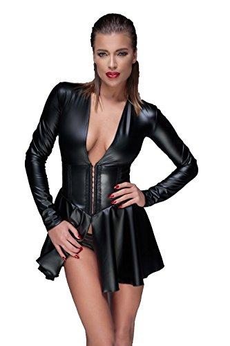 Noir Handmade Schwarzes Damen Dessous wetlook fetisch Minikleid Abendkleid mit Schnürung und Ausschnitt L