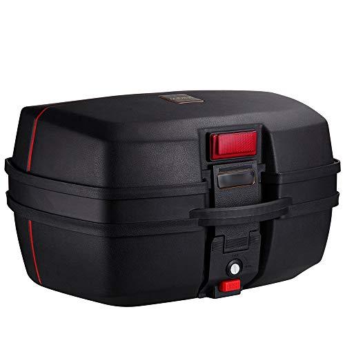 ZMCOV Cofre Moto, Scooter De Caja Superior Hecha De Plástico, Resistente A Los Arañazos, Maleta Trasera para Almacenamiento De Equipaje,Negro