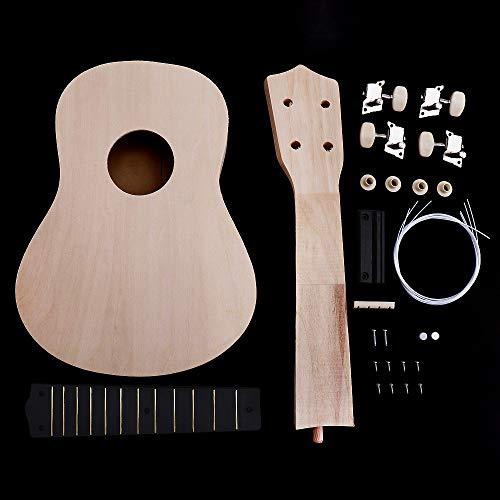 OriGlam Kit de ukelele de 21 pulgadas, haz tu propio kit de ukelele soprano Hawaii, kit de trabajo manual de guitarra hawaiana con herramientas de instalación para niños, amigos, familia, afic
