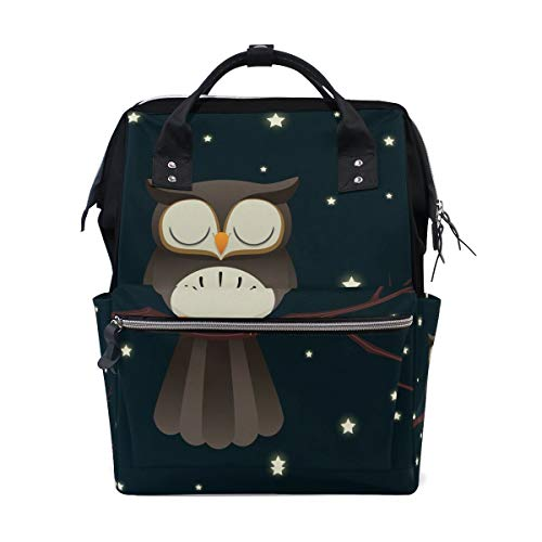 UUwant Mama Windel Rucksack Sleepy Owl Diaper Backpack Large Capacity Baby Bag Multi-Function Nappy Bags Travel Mom Backpack for Baby Care