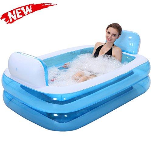 Bañeras Jacuzzis de Hidromasaje Inflable para Adultos de baño con Estilo en el hogar Plegable cómoda Inflable Azul aliviar la Fatiga