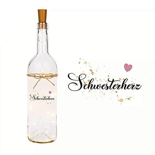 """LED Flaschenlicht mit Spruch """"Schwesterherz"""" I liebevolle Dekoflasche mit LED Beleuchtung I Geschenk als Dankeschön und zum Geburtstag"""