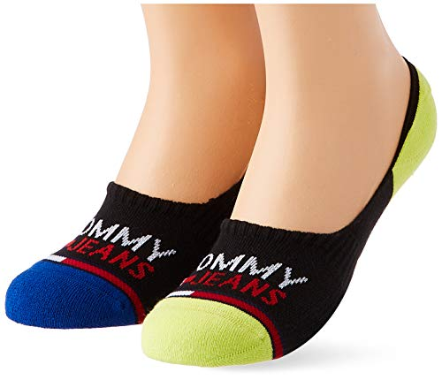 Tommy Hilfiger Tommy Jeans Show Mid Cut Socks (2 Pack Calcetines, negro/amarillo, 35-38 Unisex Adulto