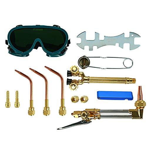 YaeTek 12PCS Oxygen & Acetylene Torch Kit Welding & Cutting Gas Welder Tool Set with Welding Goggles