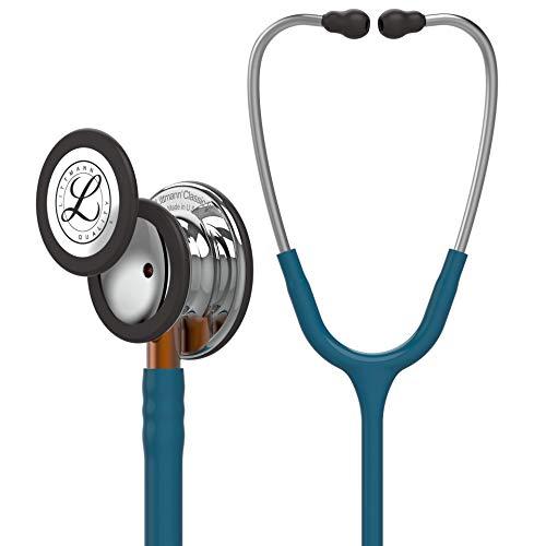 3M Littmann Classic III Stetoscopio per il Monitoraggio, Testina con Finitura a Specchio, Tubo Auricolare Blu Caraibi, Connettore Arancio e Archetto Acciaio, 69 cm, 5874
