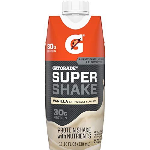 Gatorade Super Shake, Vanilla, 30g Protein, 11.6 Fl oz Carton, Pack of 12