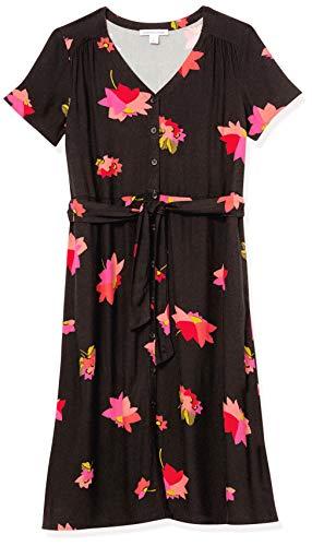 Amazon Essentials Vestido de Manga Corta Midi Botón Frontal Dresses, Rosa/Negro, Floral, S