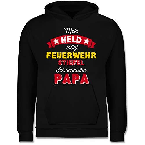 Shirtracer Vatertagsgeschenk Tochter & Sohn Kinder - Mein Held trägt Feuerwehrstiefel - 128 (7/8 Jahre) - Schwarz - Feuerwehrstiefel - JH001K - Kinder Hoodie