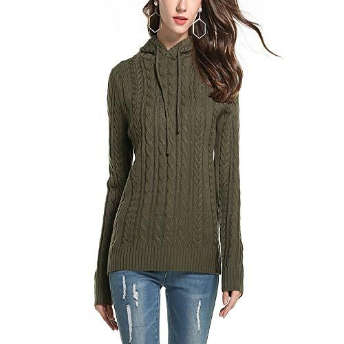 XIEPEI Herbst und Winter Kapuzenpullover Größe lässig Damen Pullover Kapuzenpullover Armee grün XL