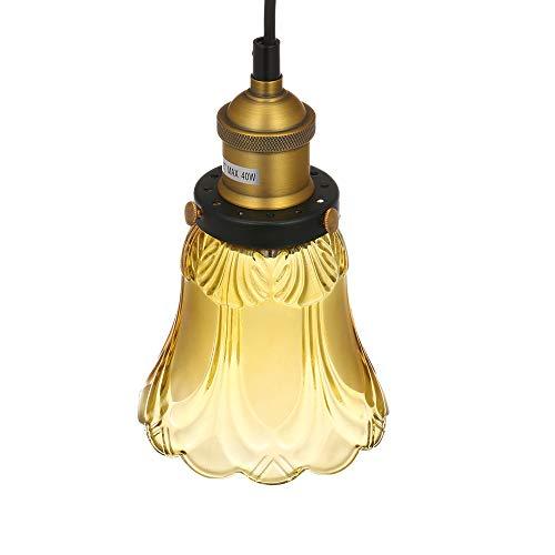 Bedler Lámpara colgante de estilo transicional, ventilador de techo de luz, pantalla de cristal, E26/27, pantalla de lámpara, sombra máx. 40 W Tawny