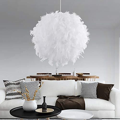 TTAototech Feather Light Shade for Ceiling Pendant Light, Lamp Shades Ceilings Dreamlike Floor Lamp Shade E27 Lampshade Lightshade for Bedroom Decoration, Diameter 30cm, White (Not include Light Bulb)