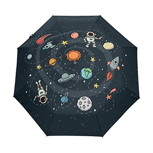 AOTISO Astronauta de Dibujos Animados Pista Espacial Paraguas de Viaje Compacto Auto Abrir Cerrar Mango