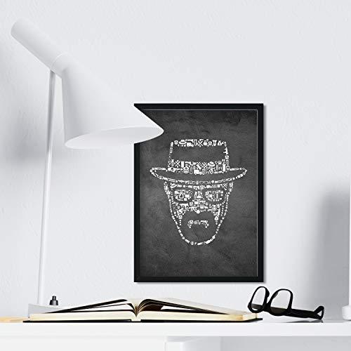 Nacnic stampa artistica in bianco e nero di un personaggio della serie televisiva Breaking Bad. Ritratto protagonista. Stampato su Carta da 250 Grammi di Alta Qualità.