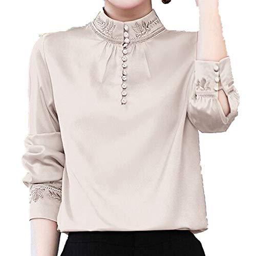 N\P Chiffon-Shirt für Damen, Frühling, langärmelig, bestickt, groß, mit rotem...