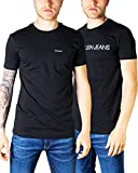 Calvin Klein Jeans 2 Pack tee INSTITUTIONAL Logo Camiseta, CK Negro, L para Hombre