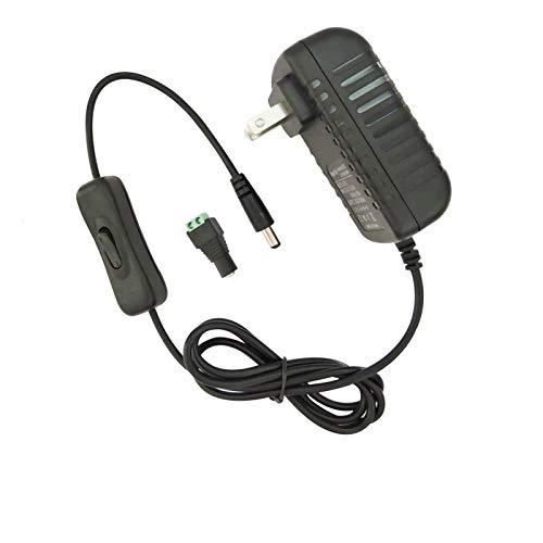 AspenTek 12V Power Supply Adapter with Inline on Off Switch for Led Rigid Bar, Led Strip Light, Led Tape Light, Under Cabinet Lighting, DC 12V CCTV Camera,Output 12V/2A, 24 Watt Max