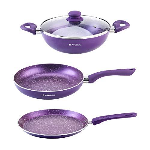 Wonderchef Orchid Non-Stick Induction Base Cookware Set of 3 - (Purple)