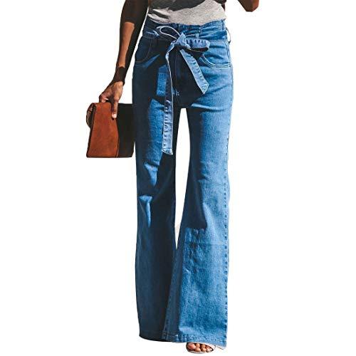 Vertvie Damen Jeans Bootcut Jeanshose Mit Hohem Bund Casual Lange Mode Hose Weite Schlaghosen Retro Stil Denim Hose(Blau, M)