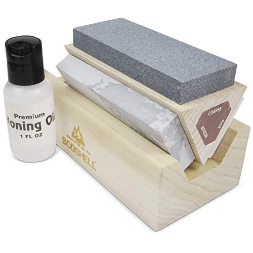 "BodShell Triple Stone Whetstone Sharpening Kit - Silicon-Carbide (Coarse), Soft Novaculite (Medium), Hard Novaculite (Fine) - Made in USA (10"" X 1 5/8"" X 1/2"")"