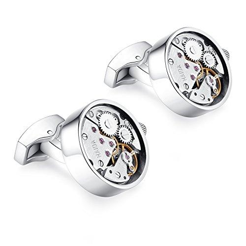 Honey Bear Watch Movement Herren Manschettenknöpfe Cufflinks Steampunk Uhrwerk Uhr Bewegung Edelstahl (Silber)