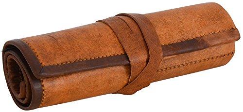 Vintage Stuff Genuine Leather Stationery Handmade Pencil Roll Case Art Uni College Supplies Roll Wrap Holder Vintage Unisex Brown Roll