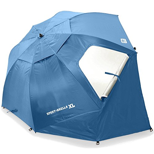 Sport-Brella XL Vented SPF 50+ Sun and Rain Canopy Umbrella for Beach and Sports Events (9-Foot, Steel Blue)