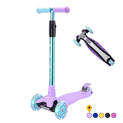 Kick Scooter Kids Scooter 3 Wheel Scooter, 4 Height Adjustable Pu Wheels Extra Wide Deck Best Gifts for Kids, Boys Girls